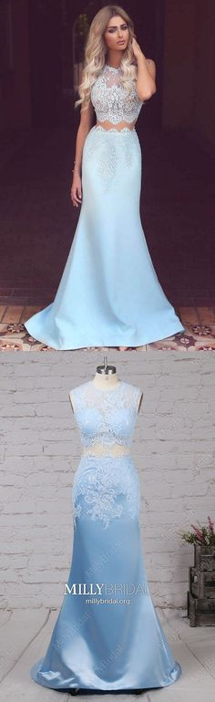 Two Piece Prom Dresses,Long Formal Evening Dresses Blue,Mermaid Military Ball Dresses Satin Tulle,Cheap Wedding Party Dresses Lace,Modest Pageant Graduation Dresses Sleeveless #MillyBridal #twopiece #bluedress #promdresses