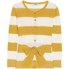 Moschino Cheap and Chic Tie-front striped linen-blend cardigan ($185) ❤ liked on Polyvore featuring tops, cardigans, sweaters, outerwear, shirts, stripe shirt, tie front shirt, white cardigan, mustard yellow cardigan and tie cardigan