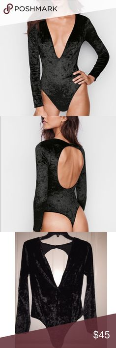 Victoria's Secret Crushed Velvet Plunge Bodysuit Crushed velvet plunge thong bodysuit. Great paired with Denim High Waisted Jeans or a cute power skirt. Fantastic for a night out when you want to look sexy without going overboard. This classic piece can be paired with nearly anything. This is sized M/L and has lots of stretch. Victoria's Secret Tops