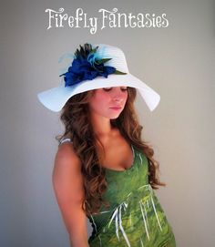 Pretty as a Peacock  White Floppy Hat for by FireflyFantasies1, $36.50