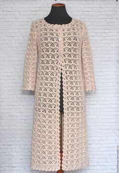 Купить или заказать Летнее ажурное пальто Крем-брюле. Ручная работа вязание крючком в интернет-магазине на Ярмарке Мастеров. Длинное летнее ажурное пальто из хлопка 'Крем-брюле' связано крючком для Натальи. Такой пряжи больше нет. Возможно связать подобное из пряжи по желанию заказчика. Цена указана за работу по вязанию пальто размер 44-46 длиной 100 см. Перед совершением покупки, пожалуйста, прочитайте правила магазина! Там Вы найдете ответы на большинство, возникших вопросов.www.li...