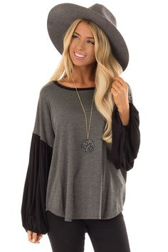 c838703c8e8 Charcoal and Black Color Block Top with Long Puff Sleeves - Lime Lush  Boutique