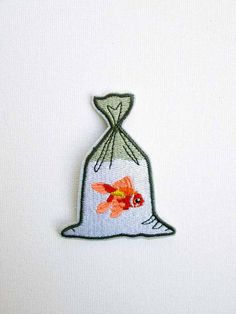 Goldfish in a Bag Embroidered Patch Iron On Fish patch Gold