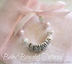 Beaded baby bracelet tutorial/includes sizing chart for babies and kids.