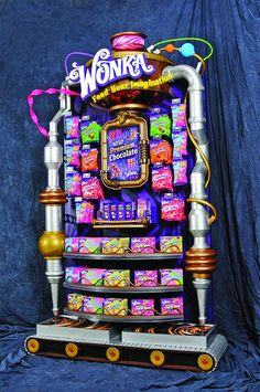Bright and lively POS display for Wonka. Bringing the Wonka factory to life! Point of sale, Point of purchase. Candy Display, Pos Display, Store Displays, Display Design, Store Design, Display Stands, Point Of Sale, Point Of Purchase, Pos Design