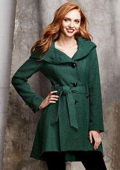 Steve Madden Novelty Button Hooded Wool Coat - Plus Size Outerwear/Jackets - Outerwear/Jackets - Alloy Apparel