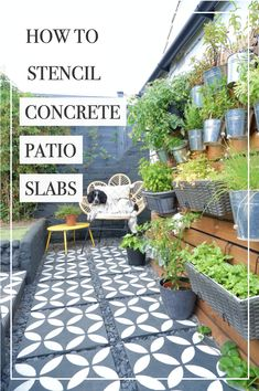 If you have some old and worn paving slabs in your garden and you want to spruce them up, then this post is for you! I'm going to teach you how to stencil concrete patio slabs…patio makeover, patio transformation! #stencilledpatio #howtostencil #stencilling #stencilpavingslabs #patiomakeover #stencil #gardendiy #patiomakeover Concrete Paving Slabs, Patio Slabs, Concrete Patio, Cool Woodworking Projects, Cool Diy Projects, Blue Slate Chippings, Stencil Concrete, Masonry Paint, Herb Wall