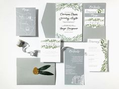 Hand painted illustrations, gold foiled vellum overlay, mid grey pocket sealed with faux olive leaves and a gold wax seal for this invitation suite for this Tuscan wedding. Wedding Invitation Suite, Custom Wedding Invitations, Tuscan Wedding, Easy Watercolor, Wax Seals, Dear Friend, Overlays, Getting Married, Leaves