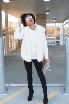 An Elegant Fur Vest Outfit for when things get a little chilly!