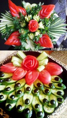 Beautiful ▲ ▲ supply of vegetable cuts - Simple recipes Ovkuse. Food Design, Christmas Veggie Tray, Veggie Display, Fruit Buffet, Cheese Art, Creative Food Art, Food Sculpture, Food Carving, Food Garnishes