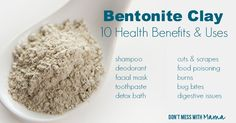 Healing clays have been used for thousands of years for a number of different health benefits - from indigestion to insect bites. Bentonite clay is a type of healing clay that is completely natural with a number of health benefits and uses. Uses For Bentonite Clay, Bentonite Clay Benefits, Calcium Bentonite Clay, Healing Clay, Coconut Health Benefits, Healthy Oils, Diy Blog, Natural Medicine, Deodorant