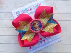 ANNA BOW  Frozen Birthday  Frozen Bow  Ana Bow  by SparkleToes3, $8.50