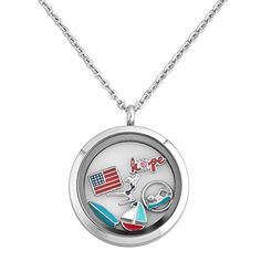 Q&Locket Olympic Sport Game USA Hope Floating Charm In 316L Stainless Steel Living Memory Locket Necklace *** Want additional info? Click on the image.