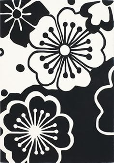 Area Rug white flowers, area rugs, black white, master baths, floral rug