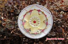 Yard Garden Art Garden Flower Plate / Crisscross Pink / Art / Sculpture