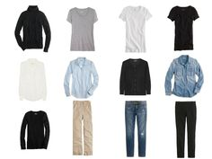 twelve-piece black, white, denim and khaki basic wardrobe, 12 piece basic neutral capsule wardrobe, Minimalist Wardrobe, common wardrobe, basic wardrobe, 12-piece wardrobe