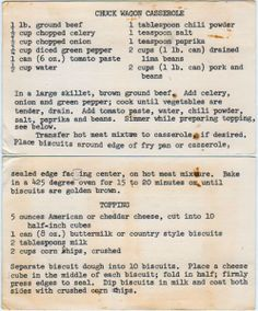 This old fashioned western Chuck Wagon Casserole recipe is cooked in a cast iron skillet is not only delicious but a part of the history of the old west. This casserole is a warm hearty meal that will give you energy to get a hard days work done. Retro Recipes, Old Recipes, Vintage Recipes, Cooking Recipes, Recipies, Cookbook Recipes, Homemade Cookbook, Cookbook Ideas, Vintage Food