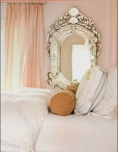 """Benjamin Moore """"Blanched Coral"""" #886 Shown here with matching silk drapery and white bedding, this is color is elegant and feminine but not overly girlie."""