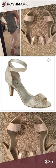 Gold Ankle Strap Heels Re-posh! Worn once, but they are a bit too big on me--I am a 7.5. 2 1/2 inch heel. So so cute, can go with anything!! Minor scuffs near heel and obviously bottom rubber is slightly blackened from black top. In excellent shape! ana Shoes Heels