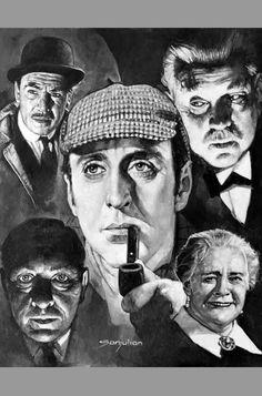 Sanjulián Basil Rathbone Sherlock Holmes Original Art Oil Painting
