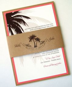 The Sheila Destination Wedding Invitation Set in White, Brown, Tan and Coral - embellishedbytiffany.com