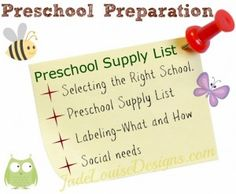 Preschool Preparation, What to pack and how to Prepare for Preschool.