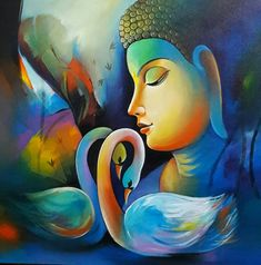 Buy Buddha 4 artwork number a famous painting by an Indian Artist Sanjay Tandekar. Indian Art Ideas offer contemporary and modern art at reasonable price. Buddha Painting Canvas, Abstract Art Painting, Indian Paintings, Art Painting Oil, Buddha Art Painting, Painting, Buddhism Art, Canvas Art Painting, Canvas Painting