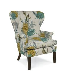 Catherine Arm Chair with Pattern Fabric.   Seat Height: 20 Arm Height: 24   Seat Depth: 21 In Arm Width: 20   Please Note: This piece is sold in the fabric shown. Other fabrics available, call for more information- 855-343-NEST