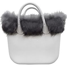 37f248dd106 faux fox fur trim - grey black - an O bag classic accessory