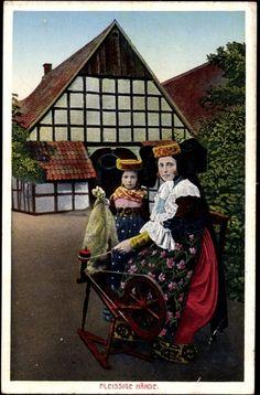 Ansichtskarte / Postkarte Fleissige Hände, Bückeburg und Schaumburg Lippe, Frauen in Trachten #westerten