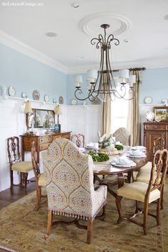 Aqua Dining Room Lettered Cottage--BM Blue Hydrangea
