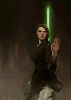Jedi human female with a green lightsaber.