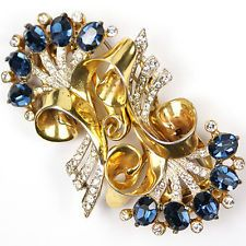 Corocraft Sterling Gold Swirls with Pave and Sapphire Flower Sprays Duette