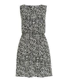 Black Pattern (Black) Monochrome Ditsy Floral Sleeveless Dress   296206509   New Look