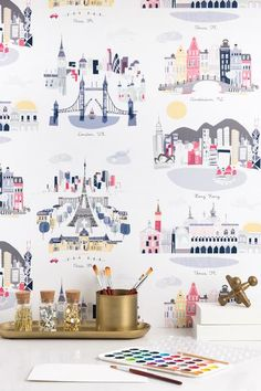We've collaborated with Kim Sly of Albie Designs to create a whimsical wallpaper. By combining a series of cityscapes in perfect hues, you can now wrap your walls in wanderlust. Perfect for family spa