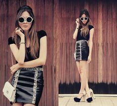 Romwe Skirt, Zero Uv Sunglasses | Black and pearls - sunglasses giveaway! (by Flávia Desgranges van der Linden) | LOOKBOOK.nu