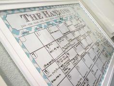 Family Calendar  Printable X Dry Erase Calendar Poster