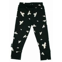MOI kinderkleding legging zwart met gebroken witte raven black