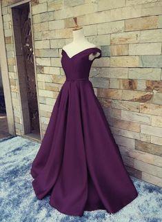 Satin Dark Purple V-neckline Long Formal Dress, Charming Party Dresses – BeMyBridesmaid
