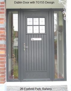 "This is a beautiful ""Dublin Door"" installed at 26 Foxfield Park, Raheny featuring the design glass. Cottage Front Doors, Front Door Porch, Grey Front Doors, Front Porch Design, Cottage Door, House Front Door, House With Porch, Porch Designs Uk, Porch Uk"