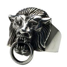 Lion Knocker Ring  by Femme Metale