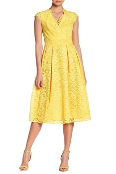 Crochet Lace Fit & Flare Dress by CHETTA B on @nordstrom_rack