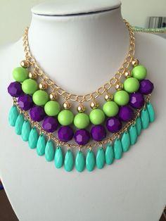 Collar tonos turquesa y verde