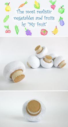 Felt Food Mushroom (1 pc) Realistic Toy Pretend Play Food for Kids Mushroom Kitchen Play Food Fabric Vegetables