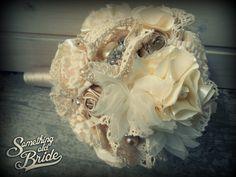 Beautiful Rustic Vintage Lace Bridal Bouquet Set  www.somethingoldbride.com