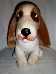 "1976 Animal Fair 14"" Plush Bogart Basset Hound Dog Brown White Large Stuffed 
