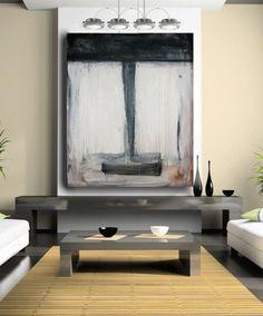 Cuadro abstracto monocromático gris