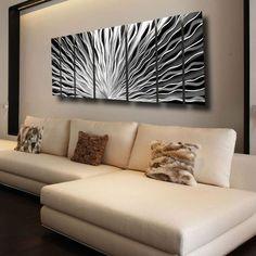 "Silver Wall Art ""Vibration"" by Metal Artist Brian Jones - 68"" x 24"" x 2"""