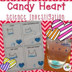 This science lab is quick, easy and perfect for the Valentine's Day season!You need candy hearts, 4 cups, baking soda, vinegar, salt and water.  The question is simple:  What will happen to candy hearts when they are soaked in each solution: water; salt water; baking soda and water and vinegar?This product includes a two sided student booklet with a place to make a hypothesis, document and summarize results.