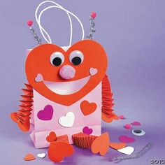 Make this fun Luv Bug Paper Bag Valentine Card Holder Craft Kit- Valentine's Day craft ideas for Kids. Spend quality time with your children making these fun valentine crafts. Kinder Valentines, Easy Valentine Crafts, Valentine Day Boxes, Valentines Day Activities, Valentines Day Party, Holiday Crafts, Valentine Ideas, Paper Bag Crafts, Paper Craft